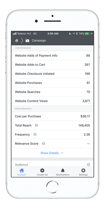iPhone Facebook Ad Stats